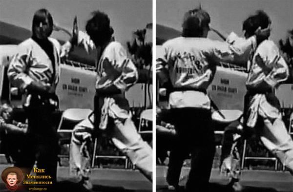 Молодой Чак Норрис в своей школе каратэ