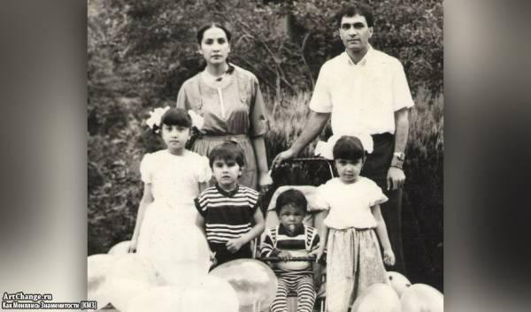 Натан Миров в детстве c родителями, сестрами и братом