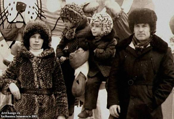 Дима Билан в детстве с отцом Николаем, матерью Ниной и старшей сестрой