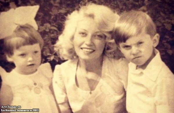 Александр Ревва в детстве с мамой Любовью и сестрой Натальей